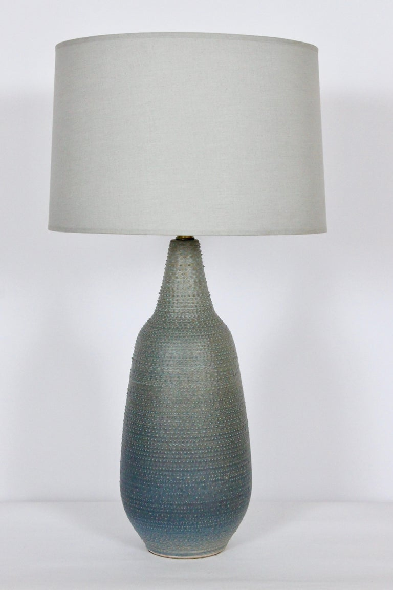 American Lee Rosen Design-Technics Gradated Slate Blue to Army Green Stippled Table Lamp For Sale
