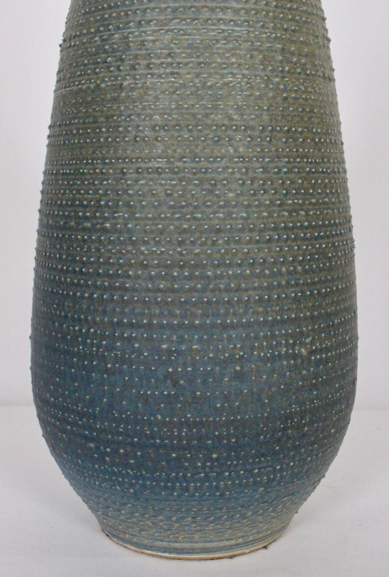 Lee Rosen Design-Technics Gradated Slate Blue to Army Green Stippled Table Lamp For Sale 1