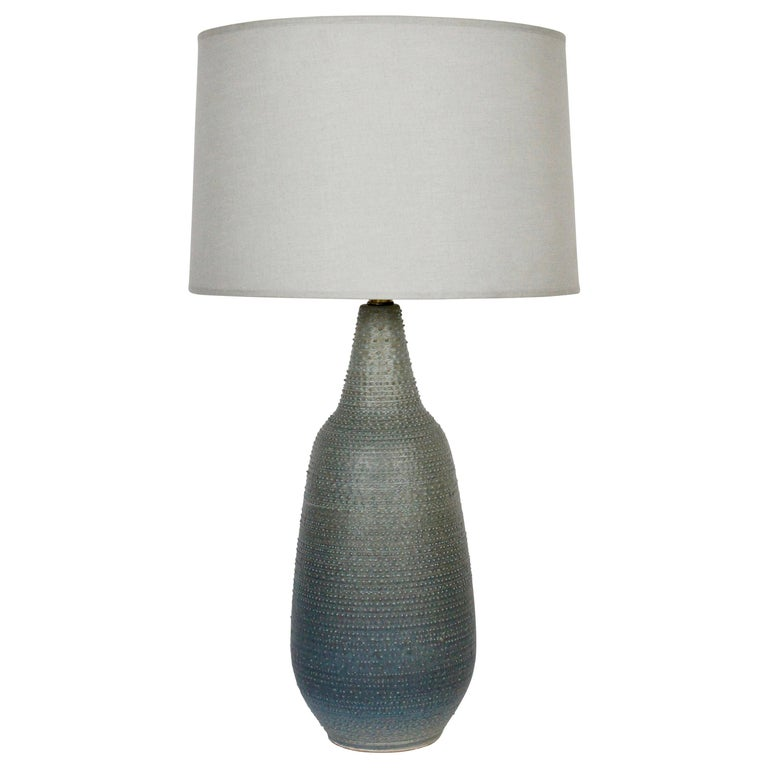 Lee Rosen Design-Technics Gradated Slate Blue to Army Green Stippled Table Lamp For Sale