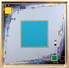 """""""City in the Spring Time…Maybe"""" Joseph Albers Style Geometric Painting on Canvas"""