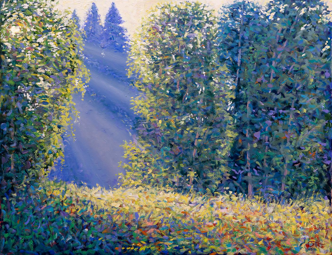 Lee Tiller, Listening to the Music of Bees, Contemporary Impressionist Painting