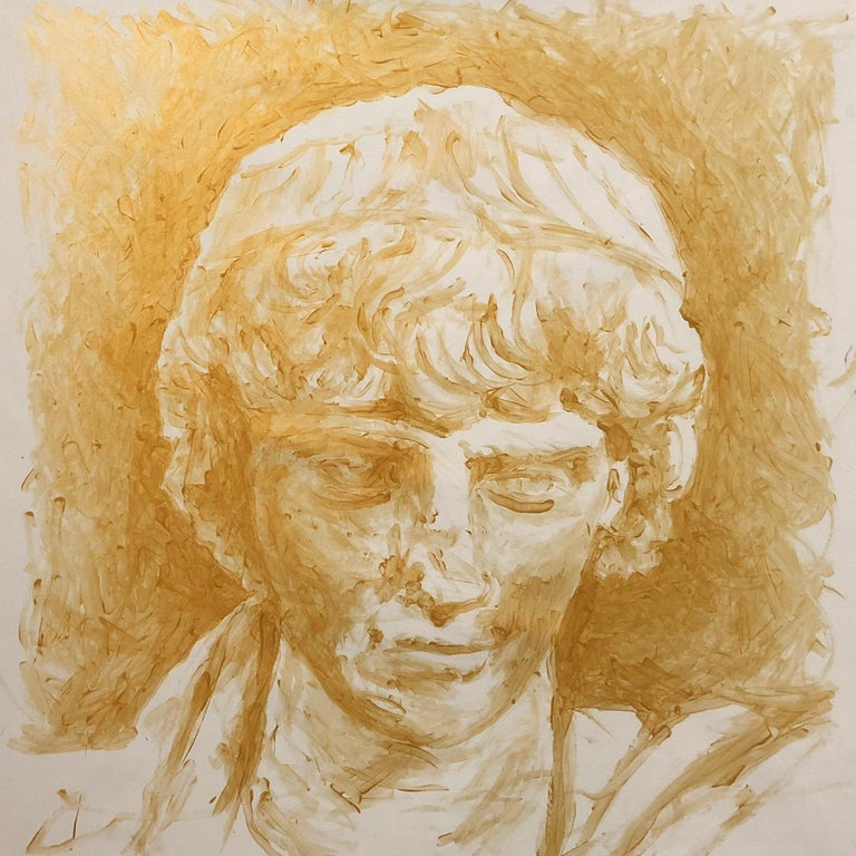 Lee Wells Figurative Painting - Head of Antinous, Olympia Series, 2ndCAD, #32