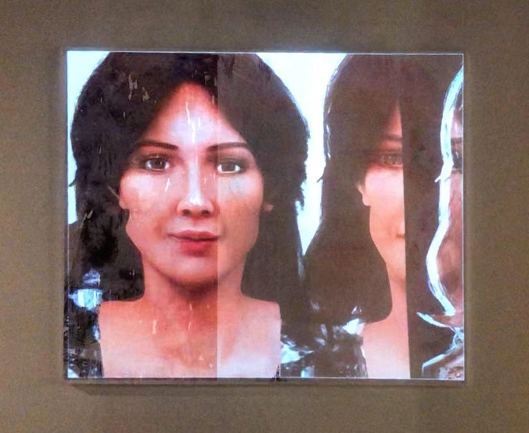 Lee Wells Figurative Painting - Portraits of Androids, Double Sophia