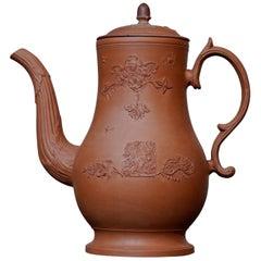 Leeds Red Ware Coffee Pot, Rococo Sprigging, circa 1765