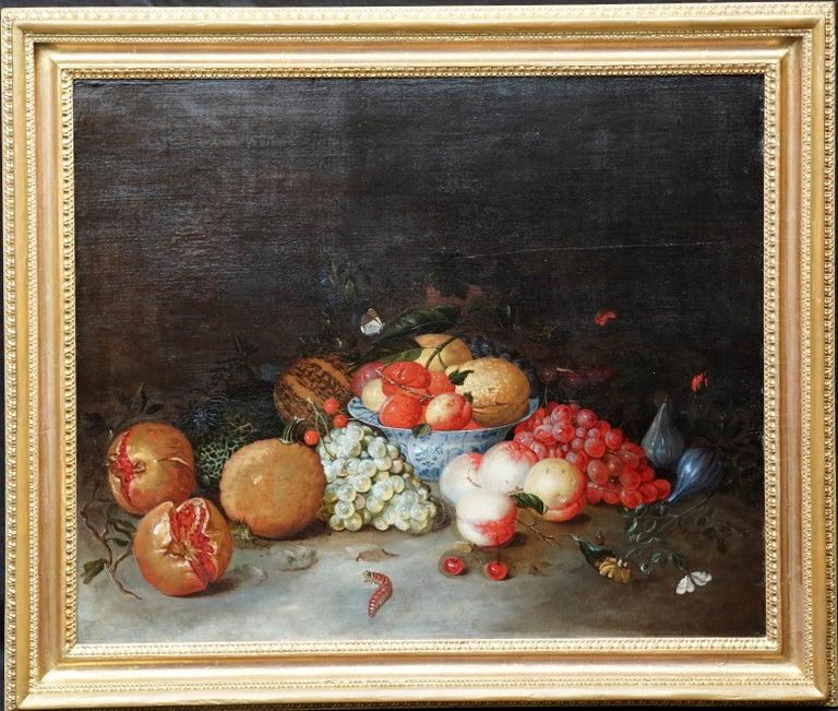Still Life Arrangement - Dutch Old Master 17thC art oil painting fruit butterfly For Sale 9