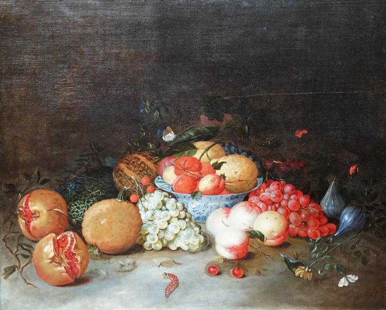 Still Life Arrangement - Dutch Old Master 17thC art oil painting fruit butterfly - Painting by Leendert de Laeff