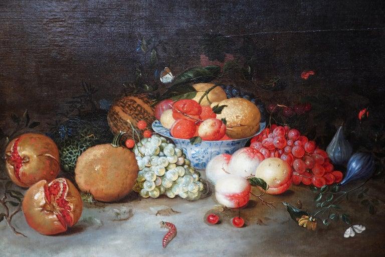 Still Life Arrangement - Dutch Old Master 17thC art oil painting fruit butterfly - Old Masters Painting by Leendert de Laeff