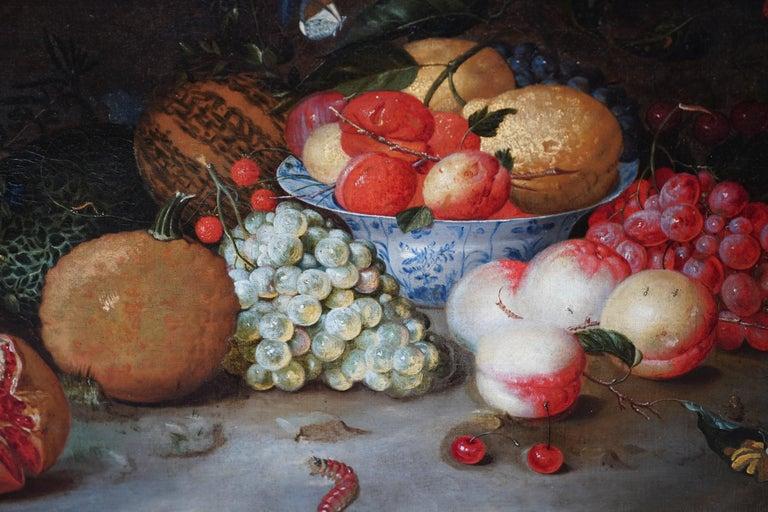 Still Life Arrangement - Dutch Old Master 17thC art oil painting fruit butterfly - Beige Still-Life Painting by Leendert de Laeff