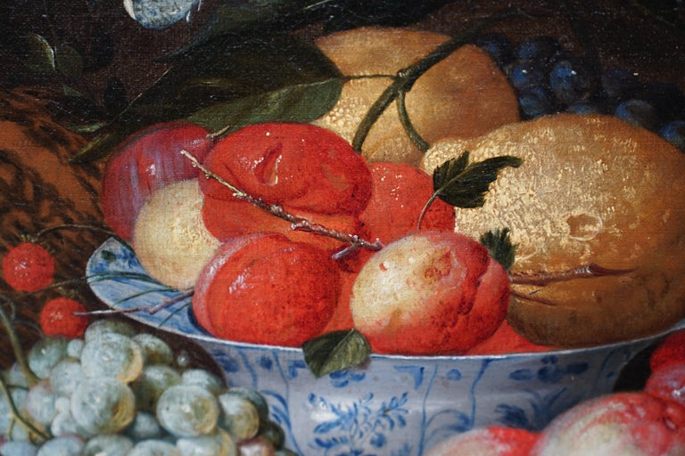 Still Life Arrangement - Dutch Old Master 17thC art oil painting fruit butterfly For Sale 1