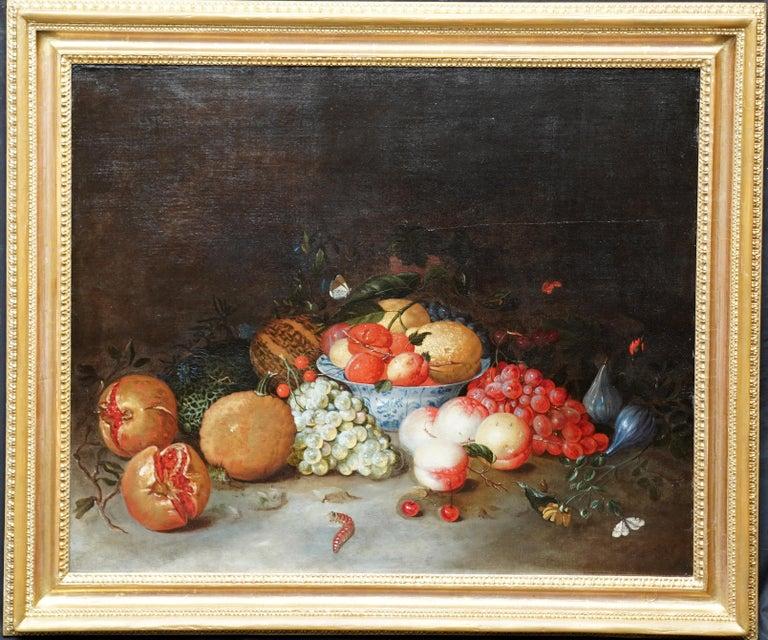 Leendert de Laeff Still-Life Painting - Still Life Arrangement - Dutch Old Master 17thC art oil painting fruit butterfly