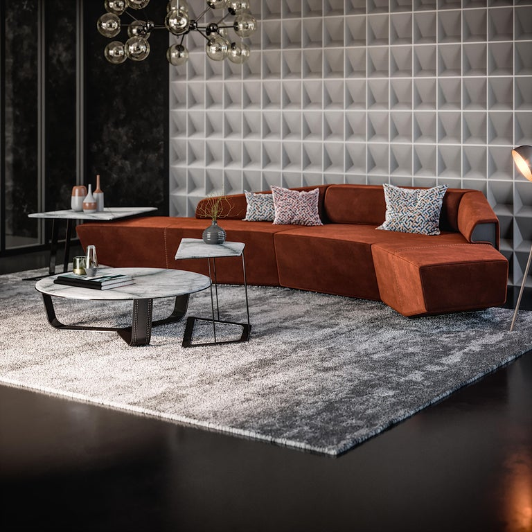 Dubhè left arm, is an element of modular sofa available in many colors and materials. Its structure is in wood padded with multi-density rubber. The base has titanium nickel finishing.  Dubhè is part of the