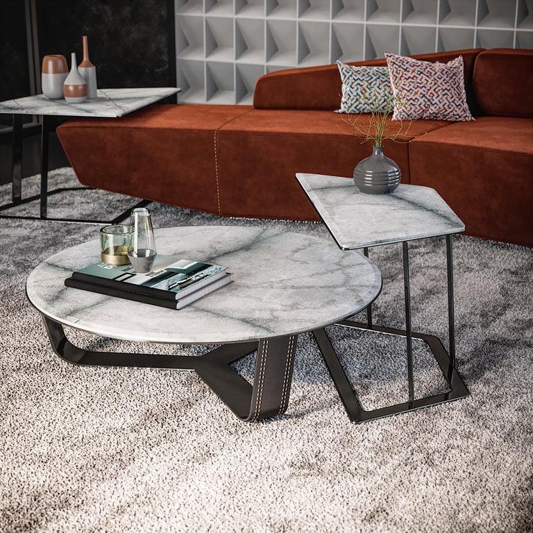 Modern Left Arm Contemporary Modular Sofa by Fabio Arcaini Geometric Settee Velvet For Sale