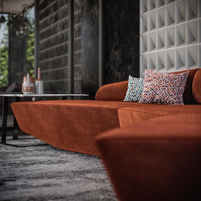 Italian Left Arm Contemporary Modular Sofa by Fabio Arcaini Geometric Settee Velvet For Sale