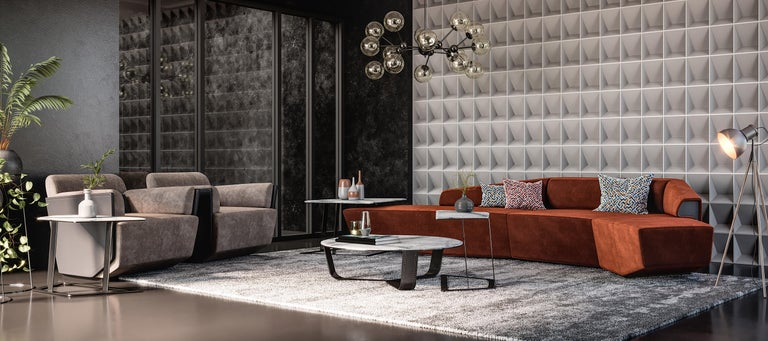 Hand-Crafted Left Arm Contemporary Modular Sofa by Fabio Arcaini Geometric Settee Velvet For Sale