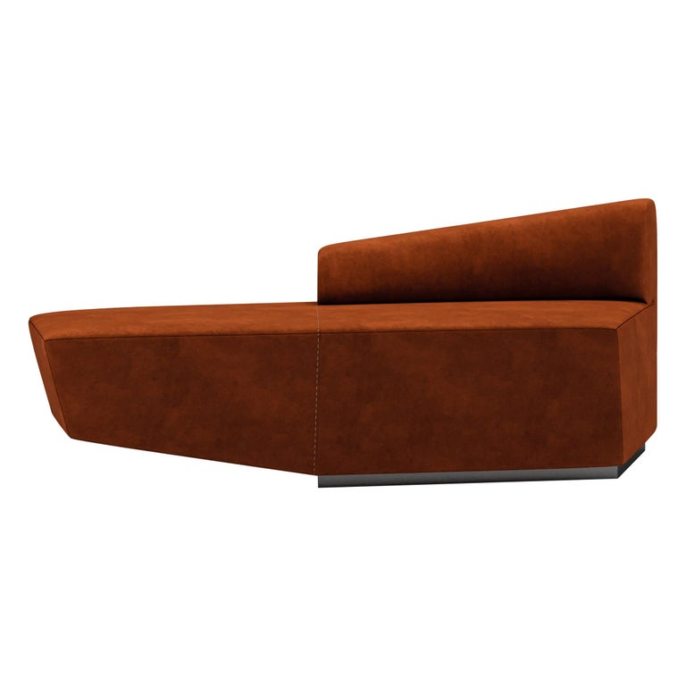 Left Arm Contemporary Modular Sofa by Fabio Arcaini Geometric Settee Velvet For Sale