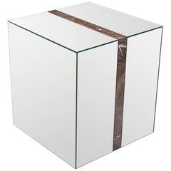 Legado Side Table in Natural Mirror and Marron Emperador Marble Border