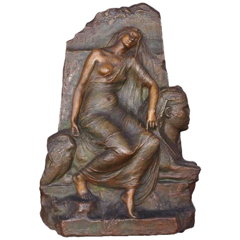"""Legend Of The Ruins"" Egyptomania Bronze Bas-Relief by Henri Levasseur"