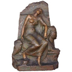 """Legend Of The Ruins"" Egyptomania Bronze Bas-Relief by Henri Levasseur"