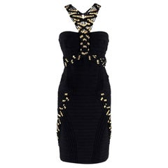 Leger Gold Beaded Black Bandage Alek Dress M