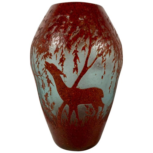 Legras Cameo Glass Vase, Deer and Pheasant, circa 1920