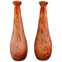 Legras, France, Two Vases in Mouth-Blown Art Glass with Gold Decoration