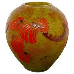 Legras Vase France Art Deco in Glass Hot Glazes Signed, 1920s
