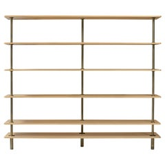 Legs Bookshelves in Natural Oak and Brown Burnished Brass by Paolo Rizzatt