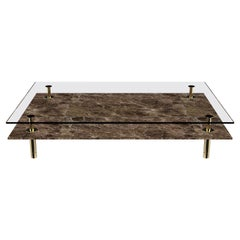 Legs Large Coffee Table with Emperador Dark Marble Top and Polished Brass