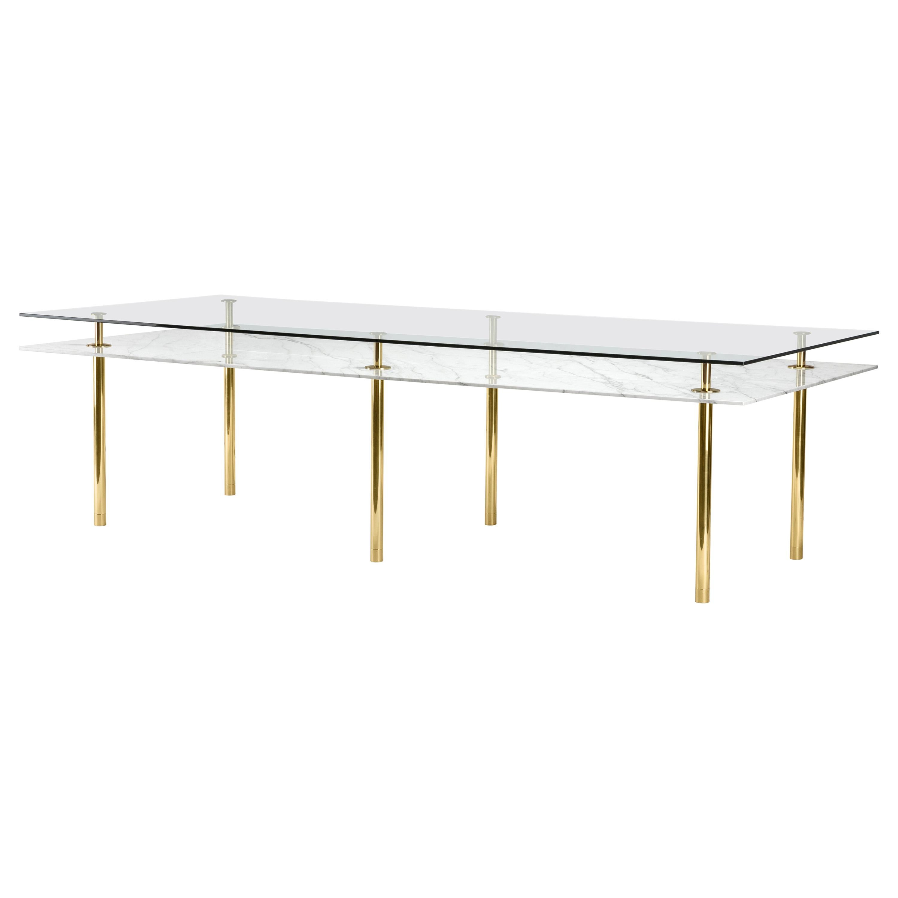 Legs Large Dining Table with Calacatta Gold Marble Top and Polished Brass