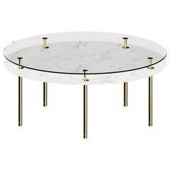 Legs Large Round Dining Table with Carrara White Marble Top and Polished Brass