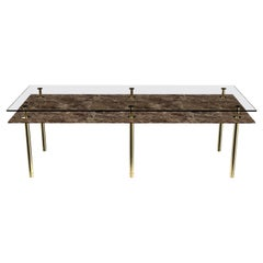 Legs Medium Dining Table with Emperador Dark Marble Top and Polished Brass