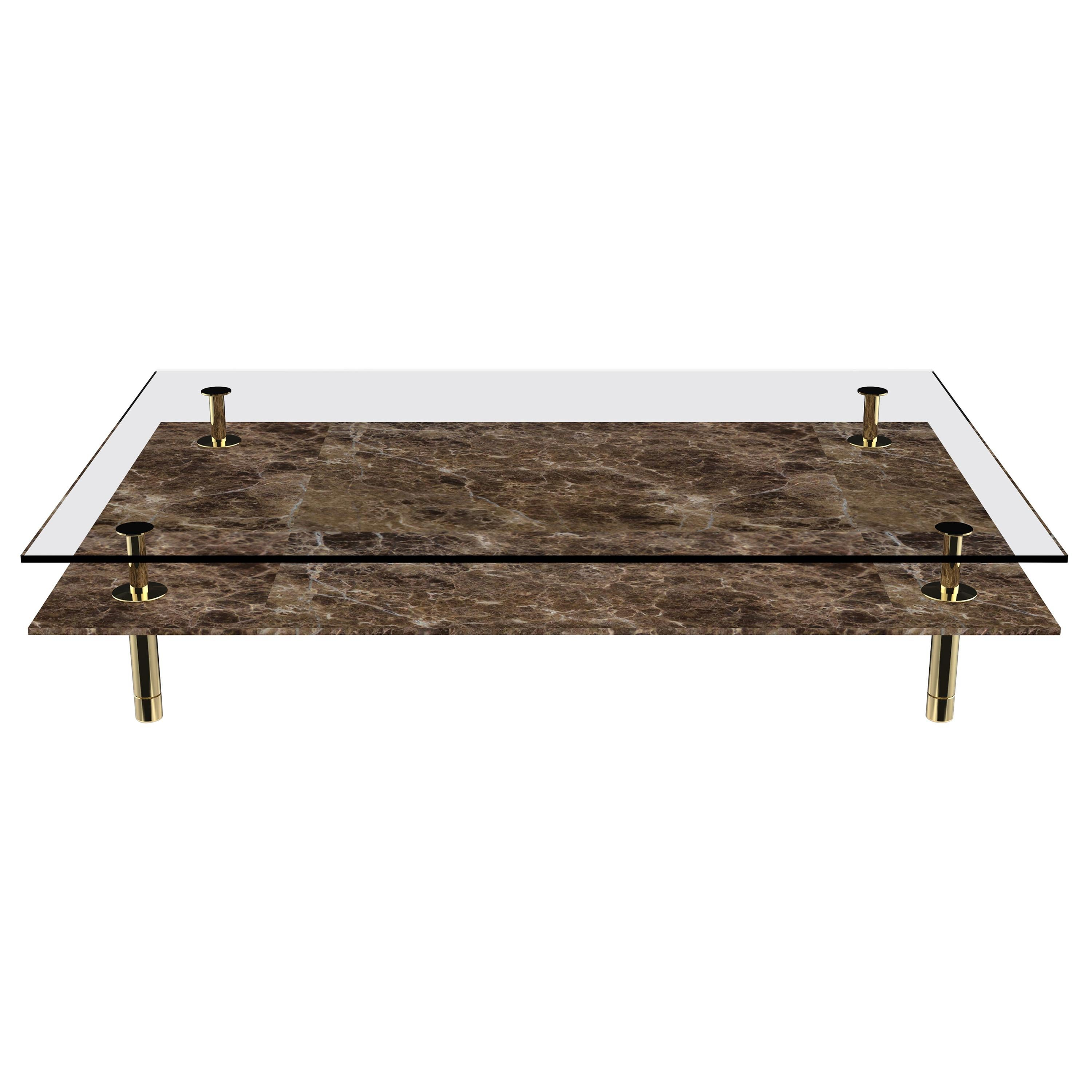 Legs Small Coffee Table with Emperador Dark Marble Top and Polished Brass