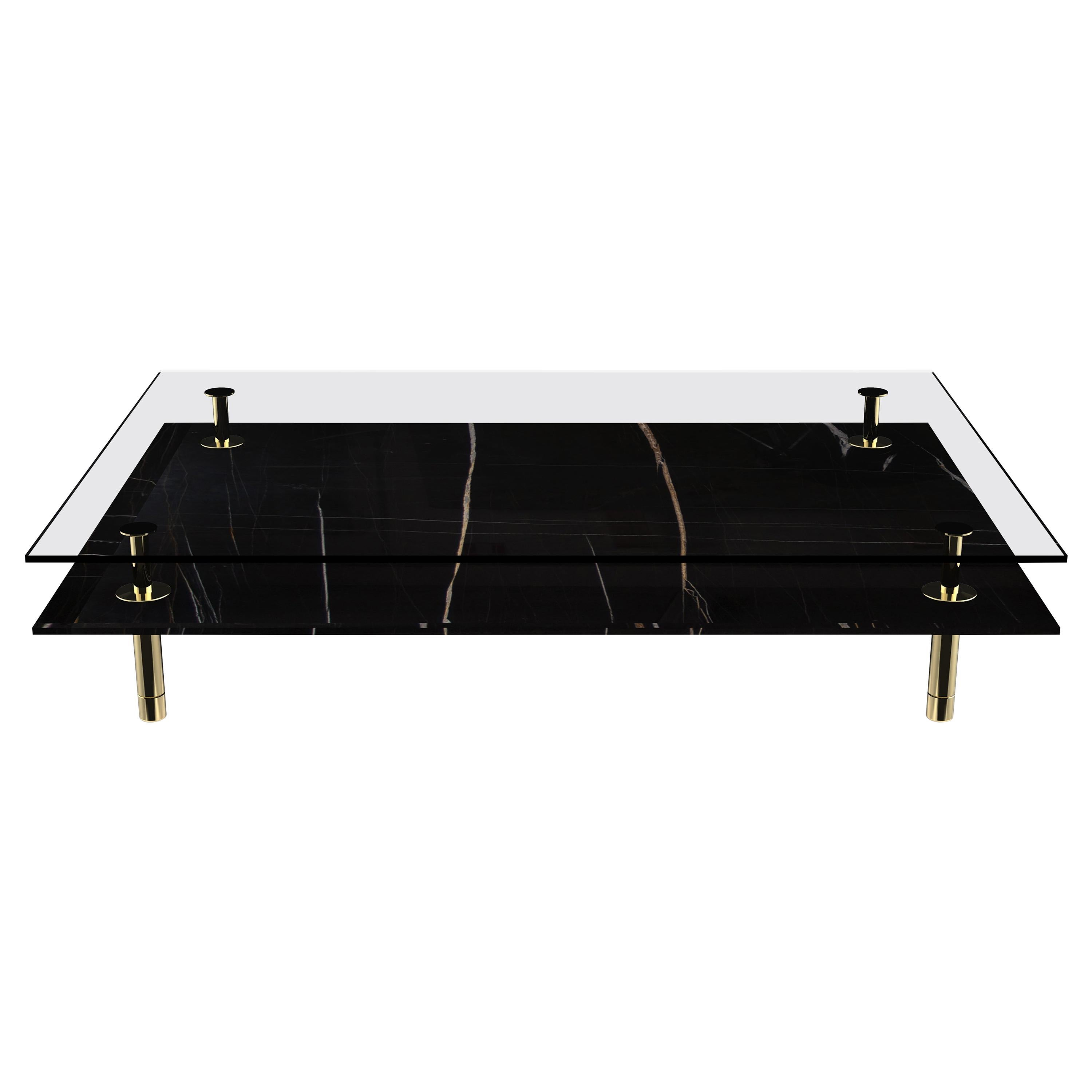 Legs Small Coffee Table with Sahara Noir Marble Top and Polished Brass
