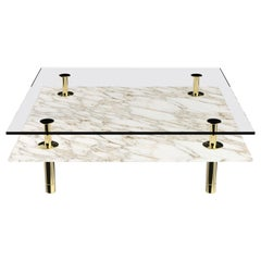 Legs Square Coffee Table with Calacatta Gold Marble Top and Polished Brass