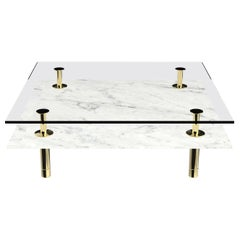 Legs Square Coffee Table with Carrara White Marble Top and Polished Brass