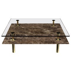 Legs Square Coffee Table with Emperador Dark Marble Top and Polished Brass