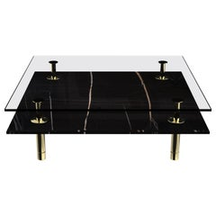 Legs Square Coffee Table with Sahara Noir Marble Top and Polished Brass