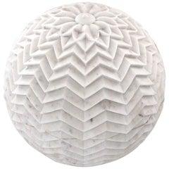 """Lehariya Cone Globe in White Marble 16"""" Dia"""