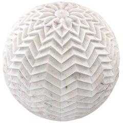 """Lehariya Cone Globe in White Marble 18"""" Dia"""