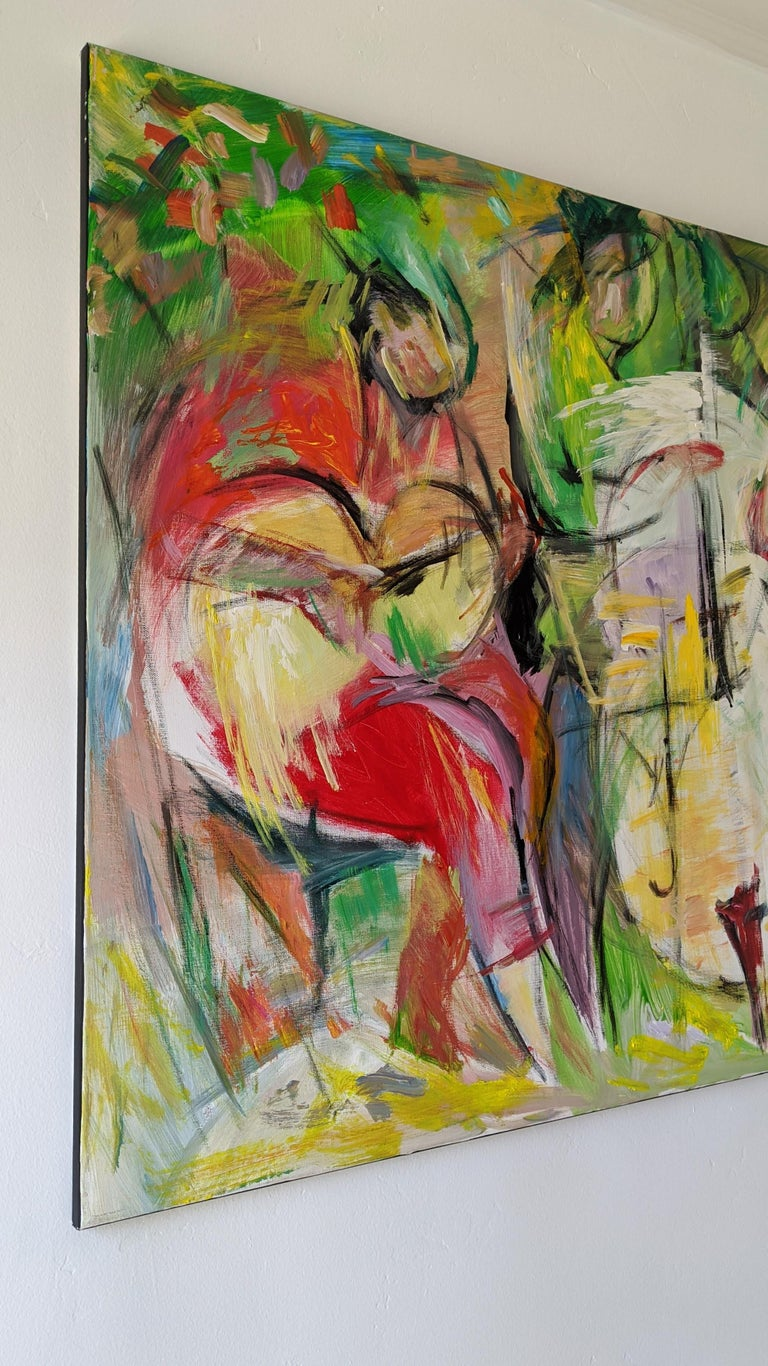 Painting, Cello, Base, Music, Colorful by Chinese American Artist - Gray Abstract Painting by Lei Tang