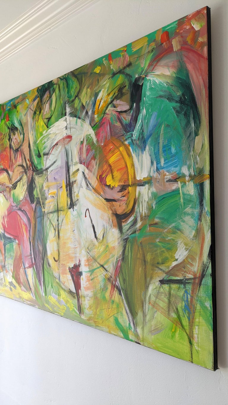 The work of Lei Tang can be best described as an exploration into the style of abstract painting.   Using acrylic paints, Tang incorporates bold colors into a composition of movement and uses the entire canvas to engulf the viewer into the energy of