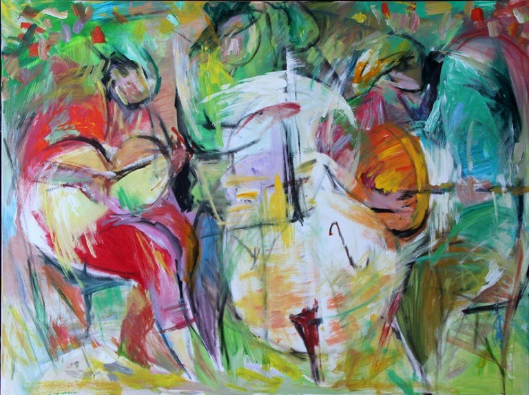 Lei Tang Abstract Painting - Painting, Cello, Base, Music, Colorful by Chinese American Artist