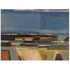 Leif Tingkær, Denmark, Oil on Canvas, Modernist Landscape, 1970s