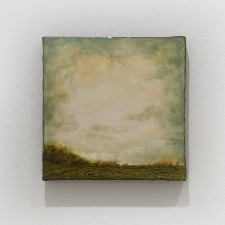 Untitled I (Hudson River School Encaustic Landscape Painting in Soft Green) - Beige Abstract Painting by Leigh Palmer