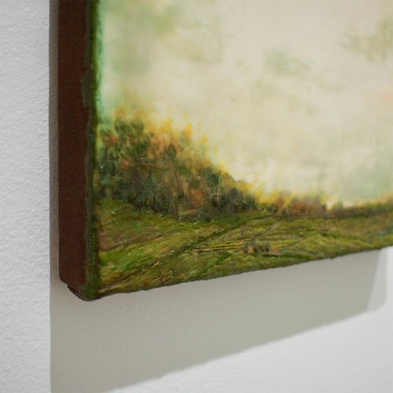 Untitled I (Hudson River School Encaustic Landscape Painting in Soft Green) For Sale 1