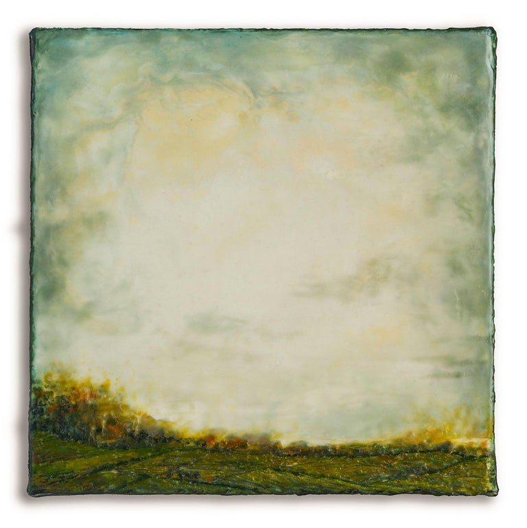 Leigh Palmer Abstract Painting - Untitled I (Hudson River School Encaustic Landscape Painting in Soft Green)