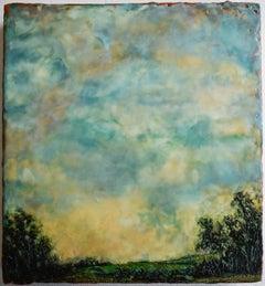 Untitled II (Hudson River School Style Encaustic Landscape Painting)