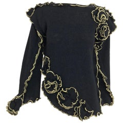 Leigh Westbrook Black Knit Gold Trim Floral Applique Sweater 1980s