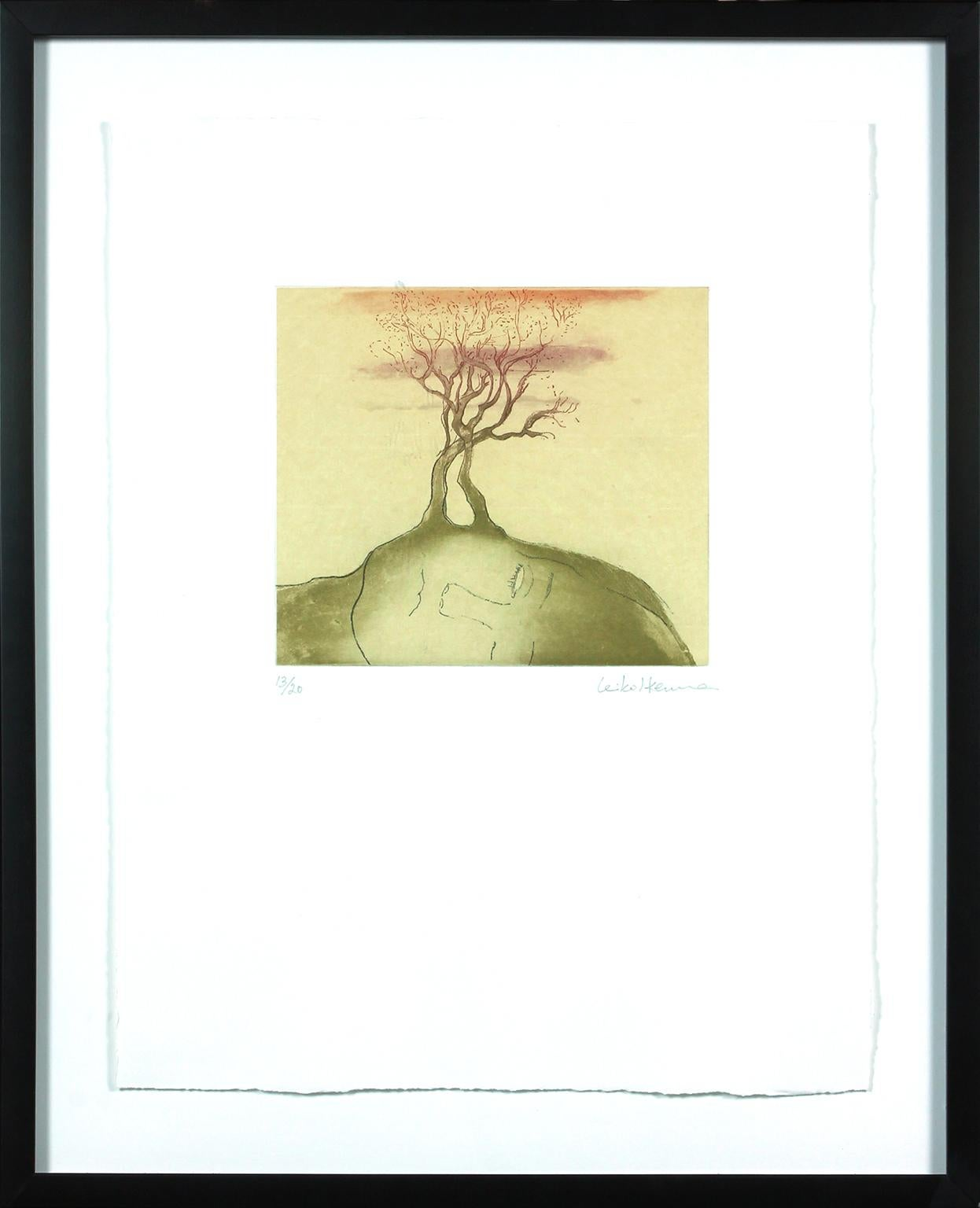 Mujer Sonande de un Arbol aquatint and chine colle by Leiko Ikemura