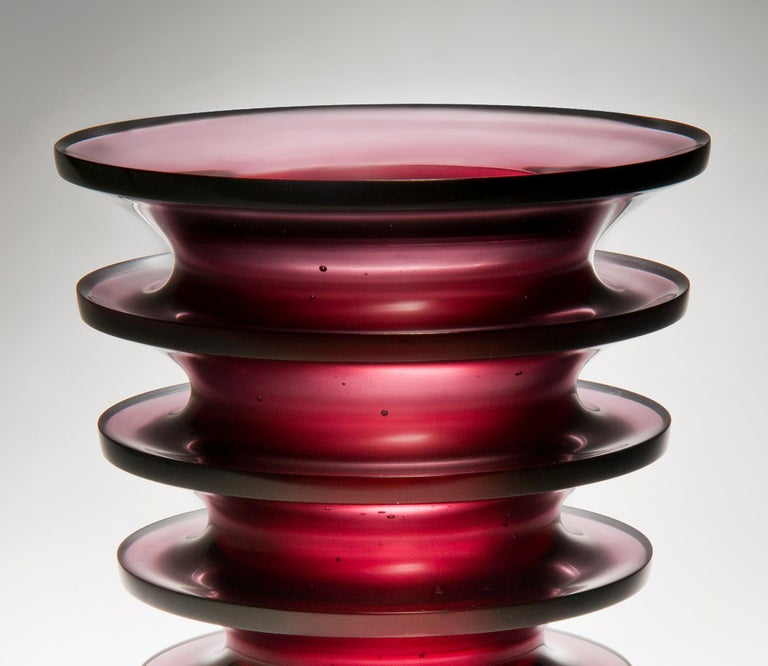 Leila, a unique dark purple / blackberry coloured glass vase by Paul Stopler In New Condition For Sale In London, GB